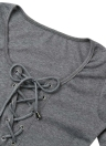 Bodycon Dress Lace-Up Front Deep V-Neck Long Sleeves Sheath Mini Dress