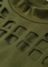 Schildkröte Hals Mesh Hollow Out Schlitz zurück Asymmetrische Stempel Losse Casual Top