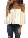 Chiffon Blouse Solid Slash Neck Off Shoulder Slare Sleeve Loose Sexy Tops