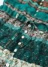 Mode Frauen Print V-Ausschnitt Button Split lange Boho Kleid