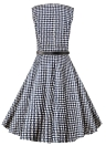 Vintage Plaid Check Print Sleeveless Belted Slim Elegant A-Line Dress