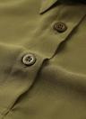 Primavera Mulheres Blusa Chiffon shirt de manga comprida Collar Vire-down assimétrico Casual solta Top preto / verde / branco
