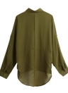 Camisa de la primavera de las mujeres de la blusa de la gasa de la manga larga Da vuelta-abajo al collar asimétrica floja ocasional Top Negro / verde / blanco