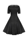 Женщины Vintage платье Полька Dot O-Шея A-Line Короткие рукава высокой талией назад Zipper Элегантный ретро платье черный / Бургундия