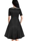 Polka Dot Round Neck High Waist Back Zipper Short Sleeve A Line Midi Dress