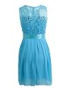 Шифон кружева платье без рукавов O шеи сплошного цвета Элегантный принцессы платье партии