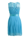 Chiffon Lace vestido sem mangas O Neck Solid Color vestido elegante da festa de princesa