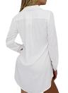 Mode Frauen-Frühlings-Langarm-Shirt Turn-down-Kragen Asymmetrische feste beiläufige lose Spitzenbluse