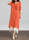 Women Linen Double Layer Casual Loose Boho Long  Maxi Dress