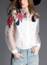 Vintage Women Applique Floral Button Organza Splicing Sleeves Shirt