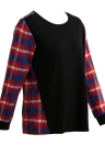 Women Plus Size Shirt Plaid manga larga de alta-baja hem cuello redondo blusa