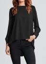Nuevas mujeres gasa plisada O-cuello manga larga asimétrica blusa casual