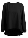 New Women Chiffon Pleated O-Neck Long Sleeve Asymmetric Casual Blouse