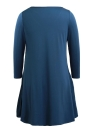Cross Round Neck 3/4 Sleeve Solid Color Mini Loose Swing Dress