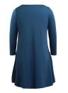 Abito corto della molla di autunno delle donne di base allentata tre quarti di manica Solid O-Collo mini Altalena Blue Dress