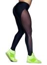 Las nuevas mujeres del deporte de las polainas de Yoga de malla transparente empalme estiramiento de fitness funcionamiento de la gimnasia Bodycon Pantalones Negro