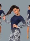 Mujeres Polka de impresión floral de cuello redondo largo Bodycon Mini Noche de vestido de fiesta