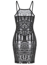 Sequin Spaghetti Strap Sheer Bodycon Club Mini Dress