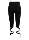 Mulheres Tie Leggings alta cintura Cross Elastic Sports Workout Fitness Black