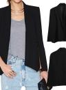 Nuevas mujeres Cabo Blazer solapa bolsillos divididos Casual traje de capa de capa sólida