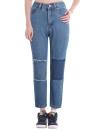 Nuevo remiendo del dril de algodón de las mujeres de la manera lavado mediados de cintura cosechó los pantalones vaqueros delgados