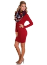 Femmes Sexy Mini Robe moulante solide O-Neck manches longues Casual Elégant Party Slim Red Dress