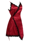 Lace Trim Deep V Neck Asymmetric Hem Mini Slip Dress