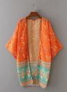 Neue Frauen-Chiffon-Oberbekleidung vorne offen Geometric Print Batwing 3/4 Arm Dünne Vintage-lose Strickjacke-Mantel-orange