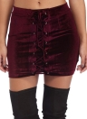 Velvet Eyelets Lace Up Bodycon Mini Skirt