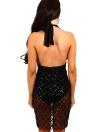 Mulheres Semi-Sheer Sequins Deep V-Neck Solid Color Sleeve Dress