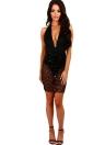 Женщины Полу-Sheer Sequins Глубокое V-образным вырезом Твердое платье с рукавом цвета