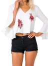 Embroidery Floral Appliques V Neck Flare Sleeve Back Cut Out Crop Top