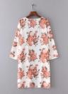 Mulheres Praia Kimono Chiffon floral impressão frente aberta Oversize longo Boho Casual Cover Up Cardigan Branco