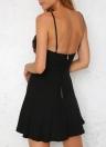 Moda Mulheres Mini Vestido Profundo V-Neck Spaghetti Strap Bordado Dobrado Zipper Verão vestido preto