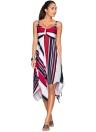 Geometric Stripe Print Sleeveless Asymmetric Hem Women's Swing Dress