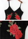 Femmes Sexy Midi Robe moulante en velours floral broderie col V profond Backless Slip Elégant Soirée Parti robe noire