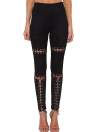 Sexy Faux Suede Lace Up Bandage High Waist Women's Leggings