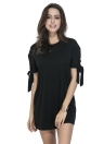 Solid Color Bow Tie Cuff Dropped Shoulder Round Neck  Casual One-Piece Dress