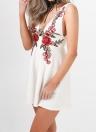 Женщины вышивки Плунге платье Глубокий V рукавов высокого талии аппликация вскользь Мини Skater платье Линии Sundress Белый / Черный