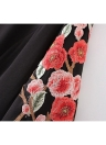 Sexy Floral Embroidery Choker V Neck Ruffle Women's Rompers