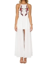 Sexy Floral Embroidery Cross Backless Sleeveless Split Women's Maxi Dress
