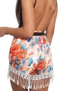 Frauenquasten Shorts Sommer Drucken Shorts elastische hohe Taille beiläufige Strand Hot Pants orange
