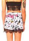 Nouveau Mode féminine Shorts imprimé floral élastique mi dentelle taille Hem Slim Casual Boho Beach Wear Noir