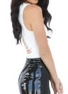 Женщины Bodycon Cut Out Комбинезон Узелок Назад O-образным вырезом без рукавов Танк Rompers костюм для подвижных игр черный / белый / Бургундия