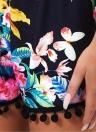 Mujer atractiva de la manera pone en cortocircuito la impresión floral de la borla de la cintura elástico elegante Pantalón Negro Casual Vintage