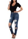 Sexy Frauen-Denim-dünne Jeans gewaschene Jeans Loch Hosen mittlere Taille gerade Hose Blau