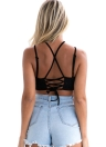 Suede Cross Hollow Out Bustier Lace Up Backless Crop Top