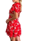 Femmes Sexy Mini robe en mousseline de soie Flora Imprimer Lace Up Backless col V profond manches courtes élégant Parti A-ligne de robe rouge