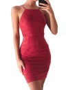 Suede Lace Up Backless Spaghetti Strap Women's Bodycon Mini Dress