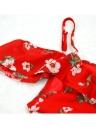 Floral Chiffon Off Shoulder V Neck Ruffle Backless Women's Mini Dress